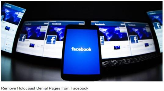 Remove Holocause Denial Pages from Facebook