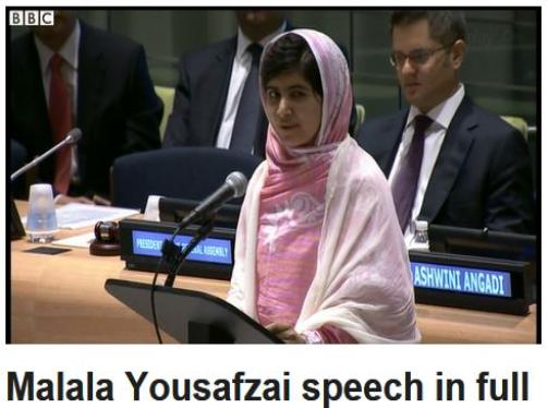 Malala Yousafzai speech in full | BBC