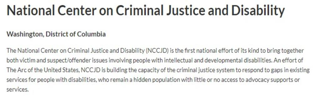 National Center on Criminal Justice and Disability